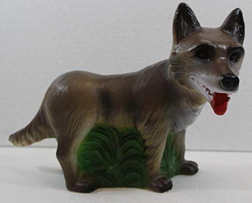 RAKSO Deko Figur böser Wolf Gartenfigur und Märchenfigur Wolf H 20,5 cm stehend aus Kunststoff
