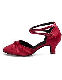 Misu Zapatillas de Danza Para Mujer Rojo Red, Color Rojo, Talla 38