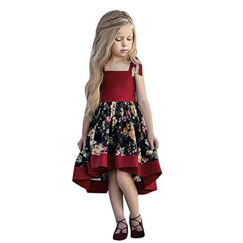 i-uend 2019 Mädchen Frühling Sommer Kleid - Kleinkind Kleinkind Baby Mädchen ärmellose rückenfreie Riemen Floral Sommerkleid kleiden Kleid für 0-4 Jahre