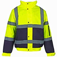 Kuest Hi-Vis Visibility Viz Safety Bomber Jacket Waterproof Work Wear