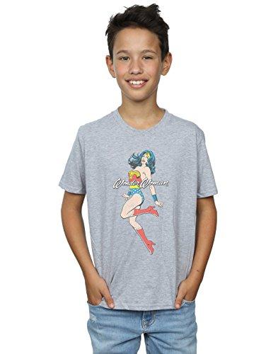 DC Comics Jungen Wonder Woman Jump T-Shirt 5-6 Years Sport Grey