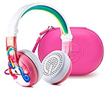 Wireless Bluetooth Headphones for Kids - BuddyPhones Wave | Kids Safe Volume Limited to 75, 85 or 94 dB | Foldable & Waterproof | 24-Hour Battery Life | Audio Sharing | Pink with Hardcase
