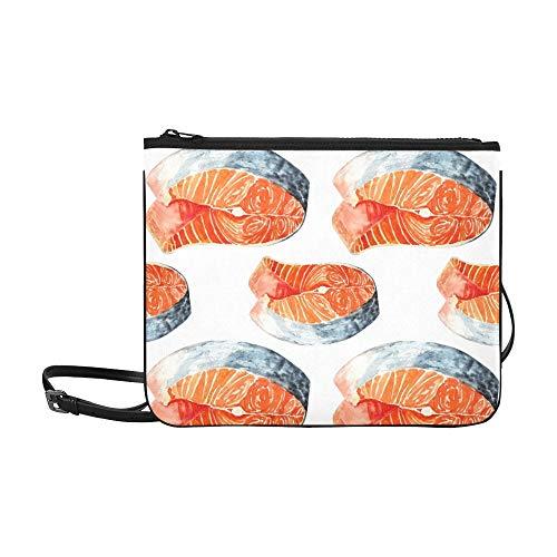 WYYWCY Lachsgarnele Gemalt Geeignete Menüs Benutzerdefinierte hochwertige Nylon Slim Clutch Crossbody Bag Umhängetasche