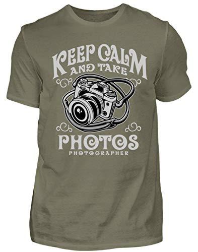 Keep Calm and Take Photos Photography - Fotograf Fotografie Fotos Kamera Panorama Objektiv - Herren Premiumshirt -L-Dunkelgrau