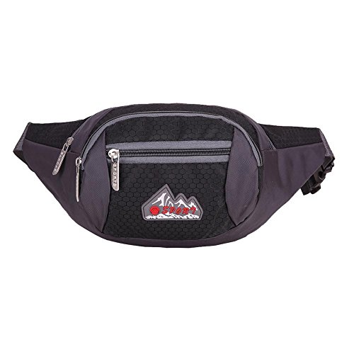 Etopfashion Water Resistant Waist Pack Sport Fanny Pack Casual Waist Bag frizione pettorale Pocket Workout Exercise Borsa lombare Custodia porta cellulare Custodia per iPhone 6 6S 7 Plus Galaxy S8 bor nero
