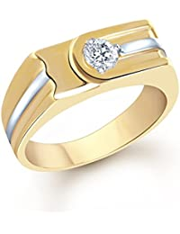 VK Jewels Flat Design Gold and Rhodium Plated (CZ) Solitaire Ring - FR1093G [VKFR1093G]