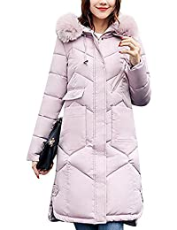 Donna Sezione lunga Grande Colletto Piumino Giacca con cappuccio Coat Parka  Pink L 6237e83a2a4