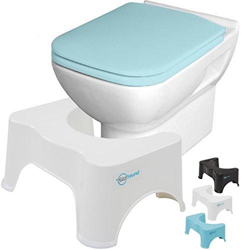 SITZFREUND der medizinische Toilettenhocker - gesunde Sitzhaltung auf der Toilette - gegen Hämorrhoiden und Verstopfung - in verschiedenen Größen & Farben erhältlich (Höhe: 21 cm, weiß)
