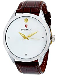 Svviss Bells™ Original White Dial Brown Leather Strap Analog Wrist Watch For Men - TA-880