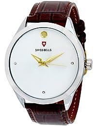 Svviss Bells™ Original White Dial Brown Leather Strap Analog Wrist Watch For Men - TA-880