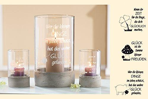 Preisvergleich Produktbild Windlicht Weisheit Glück rund in grau / weiss gewischt Höhe 13 cm (Wer die kleinen Dinge...)