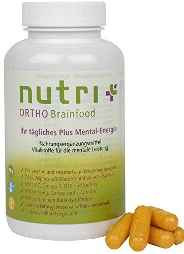 EFFEKTIV LERNEN: Nutri-Plus BRAINFOOD - Booster für Konzentration, Fokus, Gehirn, Gedächtnis - Nootropics - 90 vegane Kapseln - Gehirnnahrung - Premiumqualität aus Deutschland