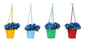 Klassic Hanging Bucket Style Metal Planter Pot with Chain (Multicolor, Set of 4)