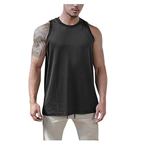 Herren Tank Top Streifen Tanktop Ärmellos T-Shirt Classic Sportliche Unterhemd Fitness Gym Shirt Rundhals Cut Off Shirt Regular Fit Muskelshirt Achselshirt XXL