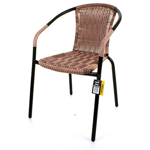bistro chair outdoor mocha wicker rattan woven seat black metal frame patio seat search furniture. Black Bedroom Furniture Sets. Home Design Ideas