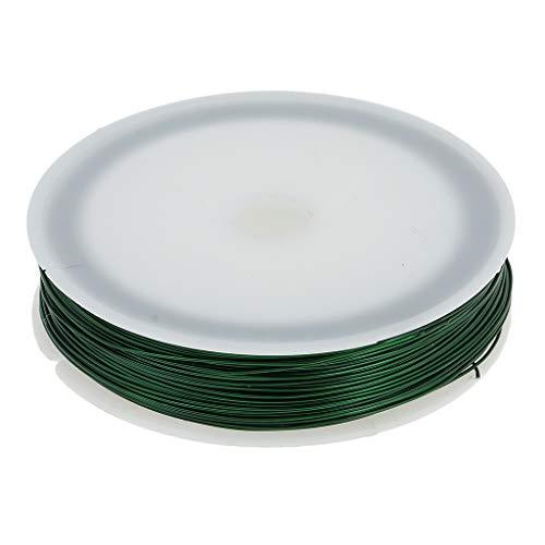 Fenteer 40m Fils Métallique Bijoux, 0.5mm Rouleau Chaînes Perles Bobines Fil de Fer Coloré avec Pince à Couper pour DIY Bijoux Artisanat Perles - Vert