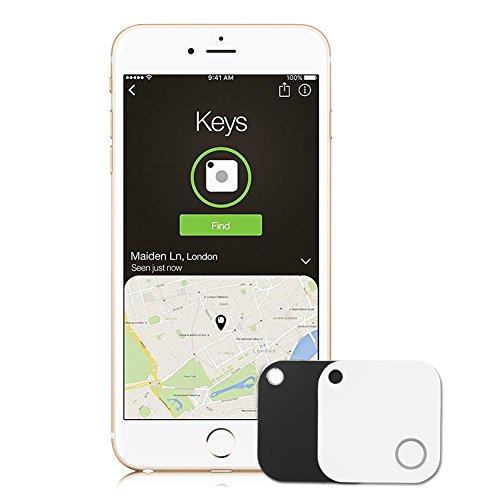 2 Packs Schlüssel Finder mit Kamera Fernbedienung, RebirthTree Bluetooth Telefon Finder Key Finder Anti-verloren Wallet Finder GPS Tracker für Schlüssel / Telefon / Wallet / Haustiere/ Tasche (iOS und Android Samsung, Weiß + Schwarz)