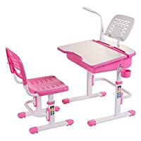 Height Adjustable Children Study Desk Ergonomic Kids Table Chairs with LED Lamp FREE Steel Bookstand and Cute Seat Pad - ChaCha (Pink)