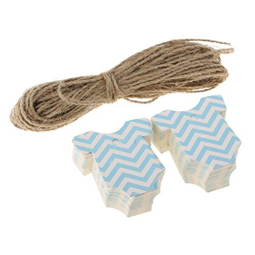 irt Form Geschenkanhänger Kraftpapier mit Schnüren Papieranhänger Tags Labels für Baby Taufe Dusche Geburt Party, Rosa/Blau - Blau (Labels Für Baby-dusche)