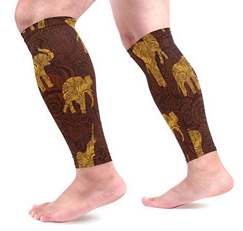 Elefantes en estilo indio Mangas de compresión para pantorrillas Protectores de pierna...