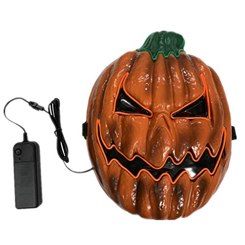 Hffan Kürbismaske Orange Artschablone Erwachsene Latex Kostüm Halloween Beängstigend Horror Leuchtende Maske Led-Maske Prom Requisiten Party Cosplay Karneval Kopfmask -