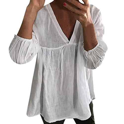 Damen V Ausschnitt 3/4 Ärmel Solide Cottont Shirt Lose Rüschen Pullover Top Bluse Einfarbiges T Shirt Mit Losen Oberteilen Aus Baumwolle Und Leinen (Shirt-ärmel-strumpfband)