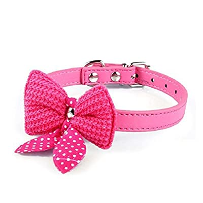Bocideal 1PC Popular Knit Bowknot Adjustable PU Leather Dog Puppy Pet Collars Necklace