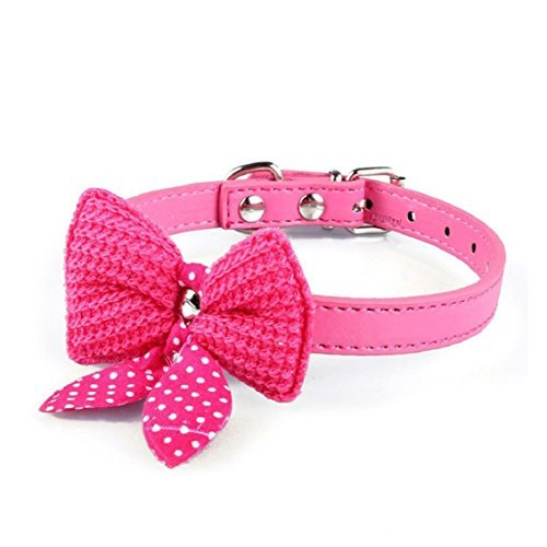 Bocideal-1PC-Popular-Knit-Bowknot-Adjustable-PU-Leather-Dog-Puppy-Pet-Collars-Necklace