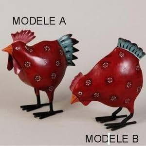 Silea poule deco rouge tete haute modele a metal - Poule decorative pour cuisine ...