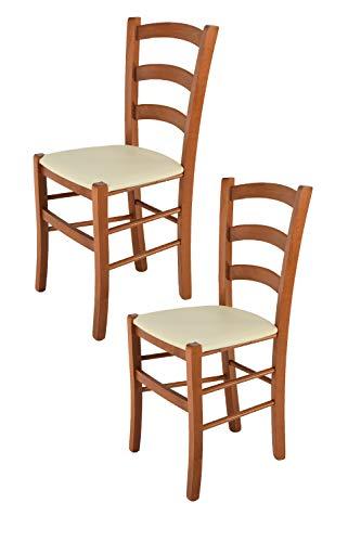 Tommychairs 2er Set Stühle Venice, Robuste Struktur aus lackiertem Buchenholz im Farbton Kirschbaum und Sitzfläche mit Kunstleder in der Farbe Elfenbein bezogen. Set Bestehend aus 2 Stühlen Venice (Esszimmer Stühle Kirschbaum)