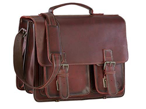 Greenburry Aktentasche Damen Herren Buffalo XL rot Aktenmappe 2 Fächer mit Lederpflegeset -