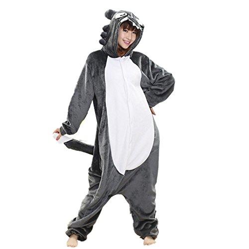 mas Cosplay Tier-Kostüm Homewear, Unisex, Fleece-Pyjama mit Kapuze für Kinder, Ladie, Einheitsgröße wolf (Womens Wolf Halloween Kostüm)
