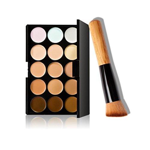 Bellelove 15 Farben Make-up Concealer Contour Palette + Makeup Schräg Kopf Pinsel (Mehrfarbig) - Spot Concealer Pinsel