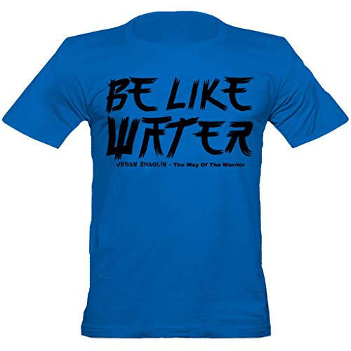 urban shaolin Mens Bruce Lee Inspired Quote Be Like Water Crew Neck Fitted T Shirt Blue