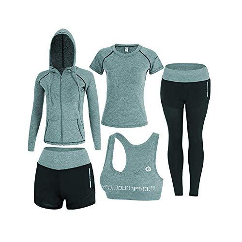 sokaly 5 pezzi yoga fitness palestra running jogging completi sportivi abbigliamento da donna (m, verde)