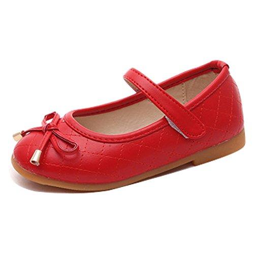 CHIC-CHIC Chaussures Bébé Chaussons Cuir Nœud à Deux Boucles Printemps Bébé Fille Garçons Enfant ChaussuresRouge 27