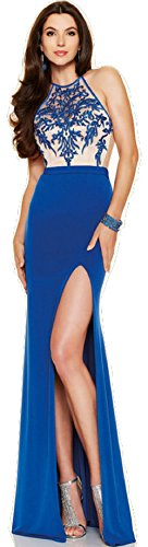 New Damen Royal Blau & Nude bestickt Mieder Abendkleid langes Kleid Cruise Ball Cocktail tragen Kleid Gr. XXL UK 16 (Crossover-mieder-kleid)