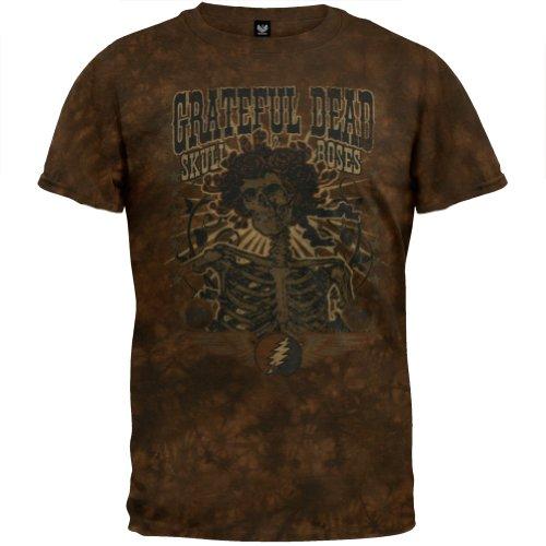 Rose Tie Dye T-shirt (Old Glory Grateful Dead–Herren Totenkopf und Rosen Tie Dye T-Shirt Gr. Large, Braun)
