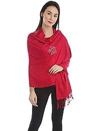 Funkia Women's Winter Red Stole With Swarovski Work
