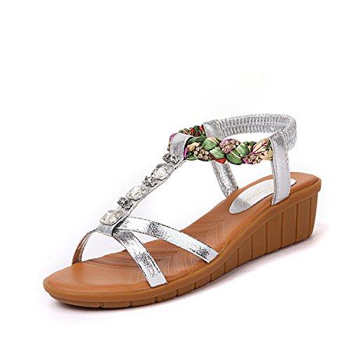 Onorevoli sandali di cuoio con pendenza toe ciabatte sandali estivi ,37 gold Silver