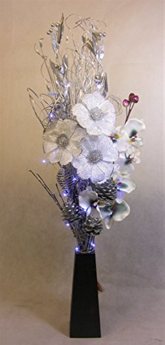 Link Products 85 Cm Teal Bouquet In Wooden Vase With 20 Led Lights