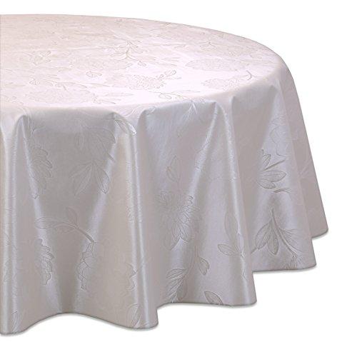 Wachstuchtischdecke OVAL RUND ECKIG Motiv u. Größe wählbar, Tischdecke abwischbar (Oval 140x190 cm Reliefdruck - Blume Creme)