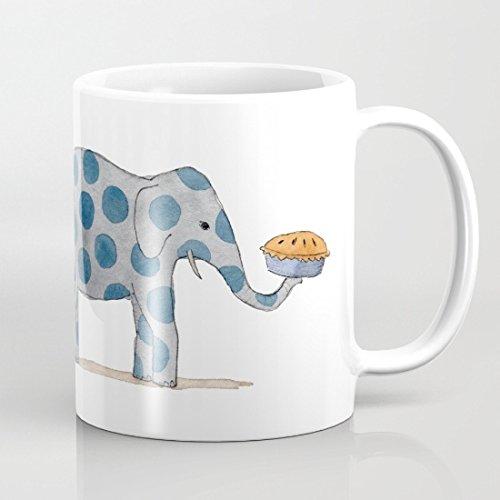 Polka Dot elefantes servir tarta de nosotros tazas taza de café de motivación regalo presente los hombres regalos divertidos para las mujeres 11oz taza de cerámica tazas para mamá taza ambos lados