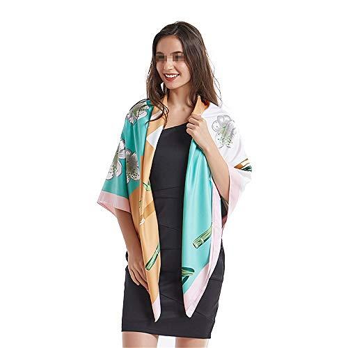 �e Satin Square Hair Scarf Silk Gefühl Spargel Blumendruck Damen Seidenschals Für Muttertagsgeschenke (Farbe : Rosa, Größe : 130 * 130cm) ()