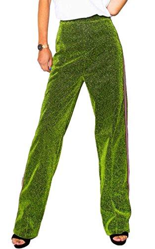 Angashion Damen hohe Taille weichen Hose Freizeit Beilaufige Hose Samt Hosen Grün M