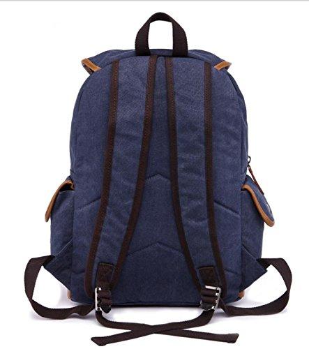 &ZHOU Segeltuchtasche, Retro-Trends großer Kapazität canvas Rucksack Rucksack Tasche Sport Tasche Männer und Frauen deep blue