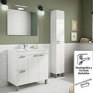 Completo Conjunto Baño , Mueble + Espejo + Lavabo (NO Clásica Cerámica) + Columna + Grifo + lámpara LED Incluida