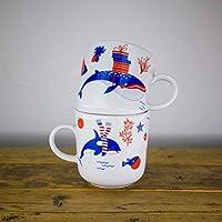 Kaffeebecher 2er Tassen-Set - Unterwasser Weihnachten - Maritime Porzellan-Tasse als Weihnachtsgeschenk