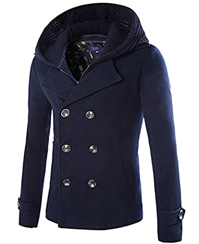 Winter Wool Blend Pea Coat Double Breasted Half Length Buttoned Top Coat with Knitted Wool Cap