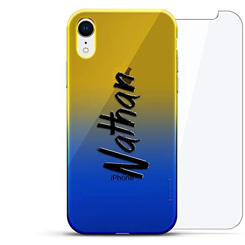 Luxendary Designer Schutzhülle für iPhone XR, 3D-Druck, modisch, hochwertig, Chamäleon-Effekt, 360 schützendes Glas, Dämmerungsblau Tamara, Name: Nathan, Handschrift-Stil, Blau (Dusk Blue)